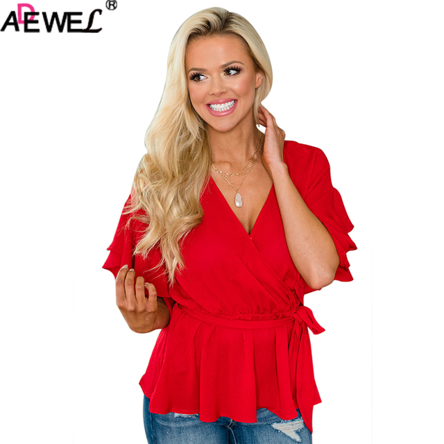 0ae29f5647c ADEWEL Red White Double Ruffle Surplice Wrapped Tie Ladies Top Elastic Waist  V Neck Summer Women Tops Show Slimmer Plus Size Top