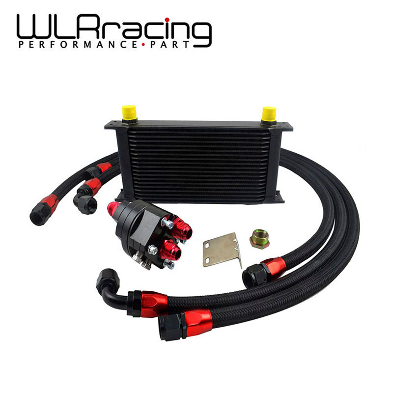 WLRING - UNIVERSAL 19 ROWS ENGINE OIL COOLER + ALUMINUM OIL FILTER/COOLER RELOCATION KIT + 3PCS NYLON BRAIDED HOSE LINE+ADAPTER лукойл масло моторное лукойл стандарт 10w 40 4л