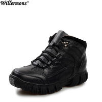 Super Warm Winter Men Boots Genuine Leather Boots Men Winter Shoes Men Military Fur Boots For