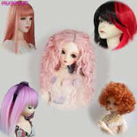 Di alta Qualità Filo Ad Alta Temperatura Rosa Marrone Rosso Parrucche per 1/3 1/4 1/6 BJD Bambole