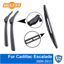 QEEPEI Front and Rear Wiper Blade no Arm For Cadillac Escalade 2009-2013 High quality Natural Rubber windscreen 22+22