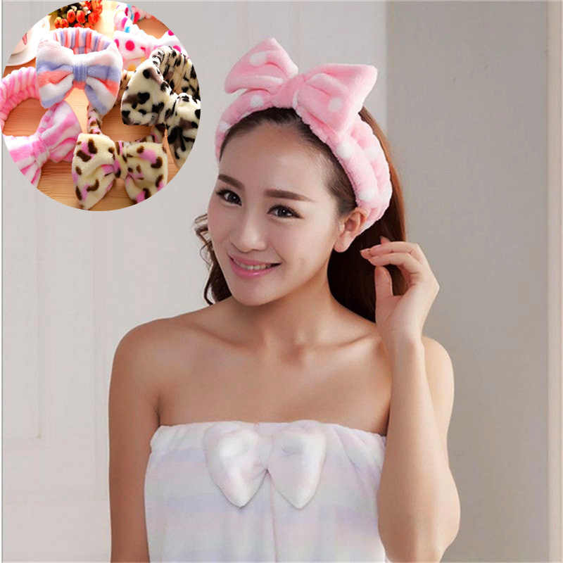 Factory Price Hot New Pink Hair Ribbon Spa Bath Shower Make Up Wash Face  Cosmetic Headband a60558a744d