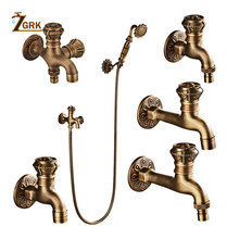 Zgrk蛇口蛇口レトロアンティークブラスウォールマウント浴室洗濯機の蛇口モップシンクタップ屋外ガーデンの蛇口