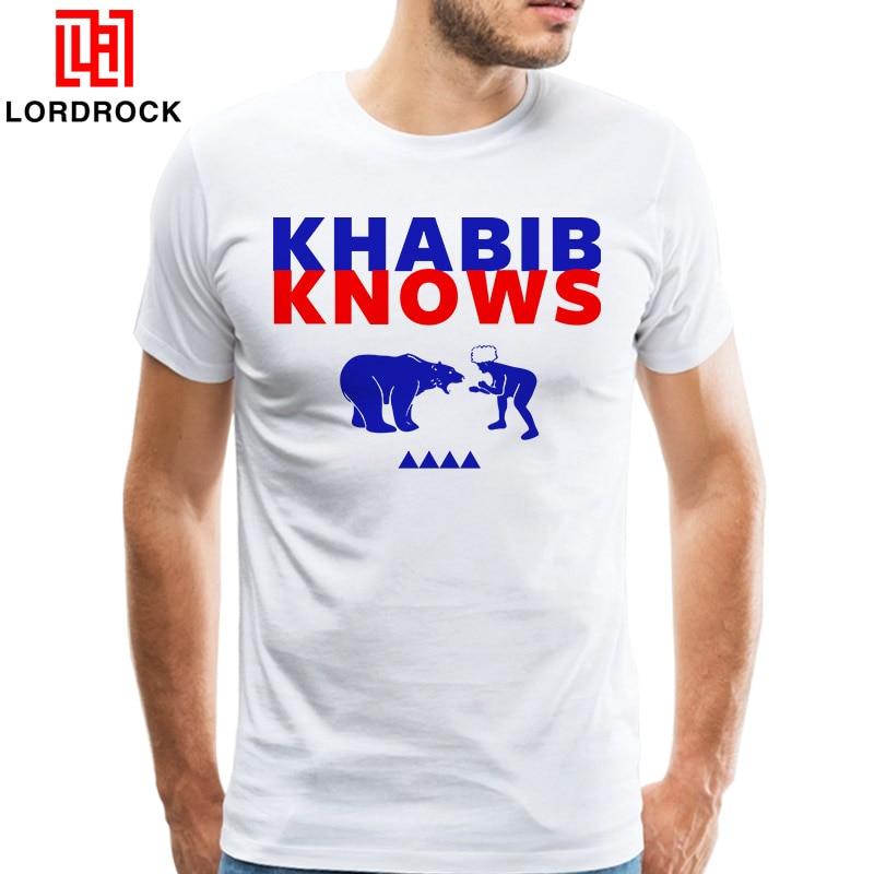 Men's Funny Tees MMA T-shirt Khabib Knows Nurmagomedov Russian Mixed Martial Artist Fighting A Bear T Shirt Short Sleeves Tops