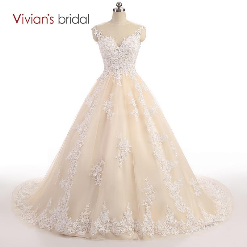 Poročne obleke Vivian brez rokavov čipke Til Line Line Poročno obleko Zipper Poročne obleke Šampanjec Poročne obleke