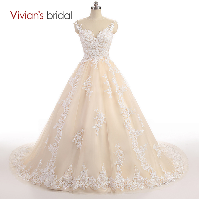Vivian's Bridal Cap Sleeve Lace Tulle En Line Bröllopsklänning Zipper Bridal Gowns Champagne Bröllopsklänning