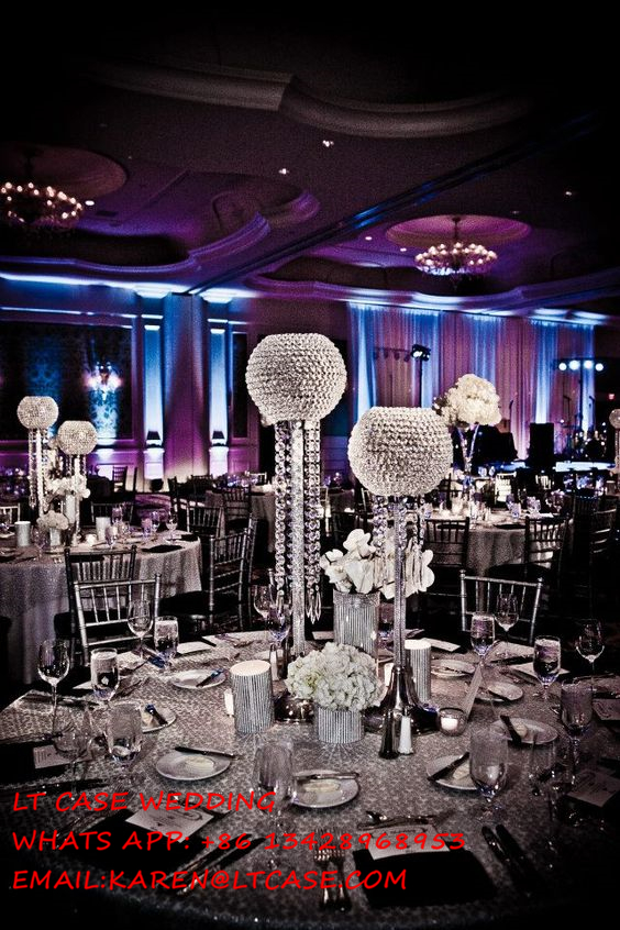 New Crystal Big Globe Wedding Centerpiece Candle Holder