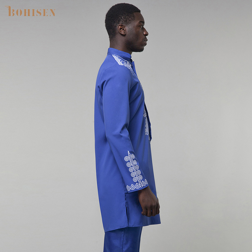 BOHISEN 2019 African Men Clothes Dashiki Print Party Dress Blue Long Sleeve Turm-Down Collar Male African T-Shirt
