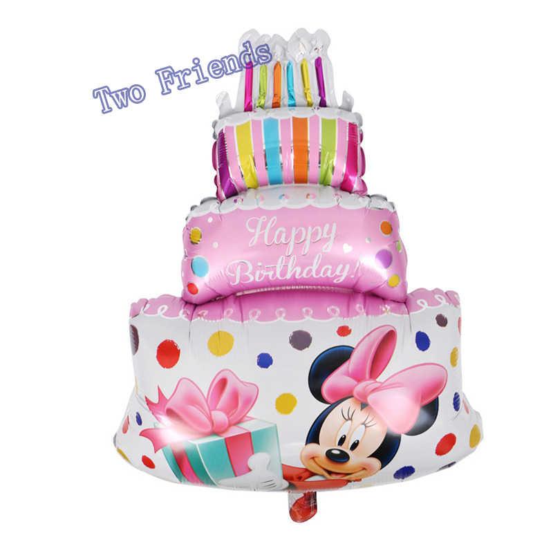 Incredible Large Mickey Minnie Birthday Cake Foil Balloons Wedding Decor Funny Birthday Cards Online Amentibdeldamsfinfo