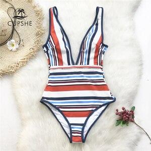 Image 1 - CUPSHE צבעוני פס צולל מקשה אחת בגד ים נשים ללא משענת Monokini רחצה חליפת 2020 ילדה סקסי בגדי ים