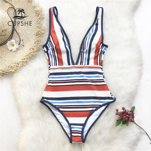 CUPSHE צבעוני פס צולל מקשה אחת בגד ים נשים ללא משענת Monokini רחצה חליפת 2020 ילדה סקסי בגדי ים
