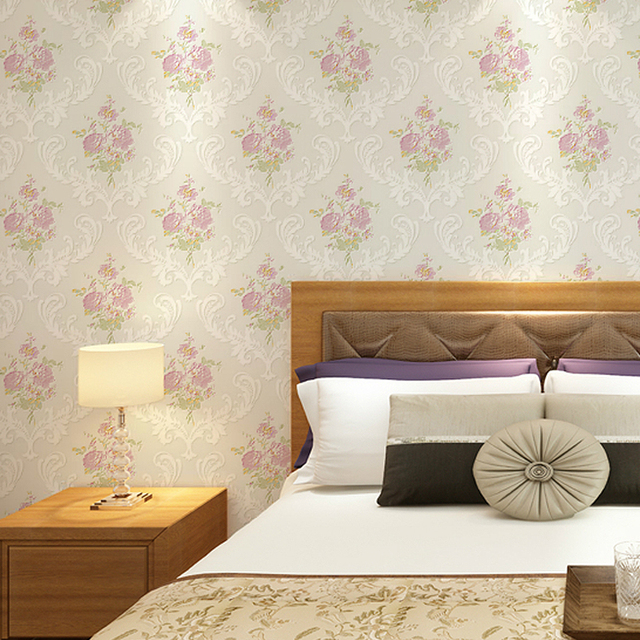 Non Tisse Tissu Fleur Romantique Floral Papier Peint Pour Chambre