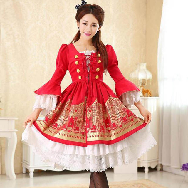 Flare Sleeve Sweet Lolita Dress With Beautiful Carousel Print Custom ...