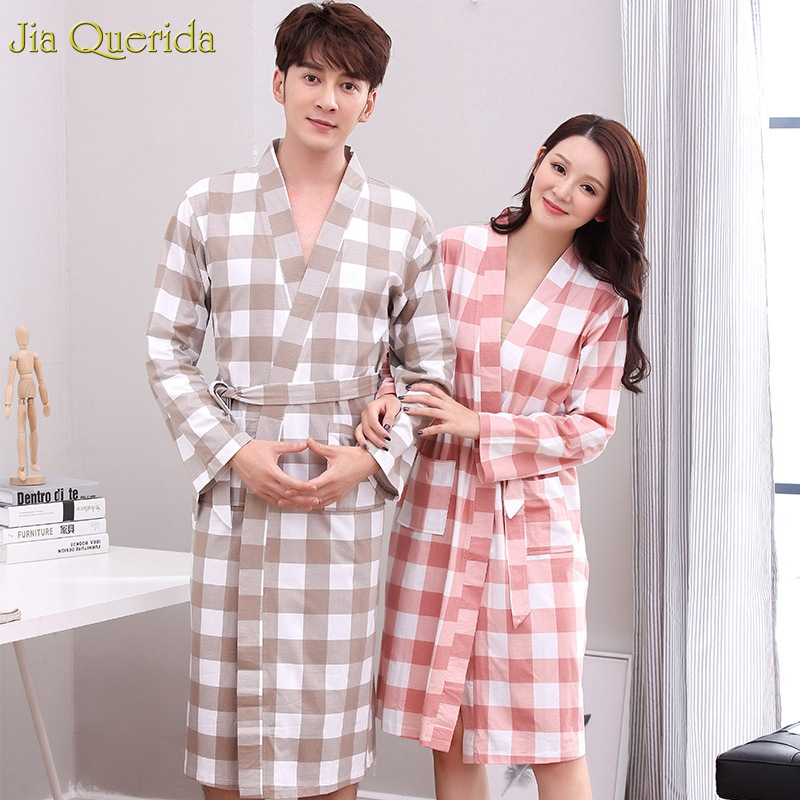 Men Kimono Long Sleeve Nightgown 100% Cotton Plaid Couple Matching Home Bath Robe Japanese Kimono Men And Women Match Bathrobe