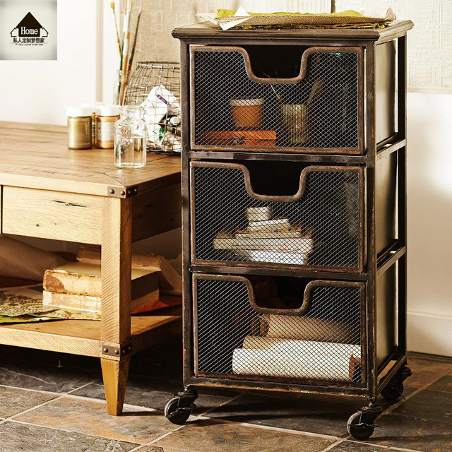 American Iron Vintage Industrial Style Drawers IKEA Living Room Storage  Lockers Side Cabinet Lockers Do The