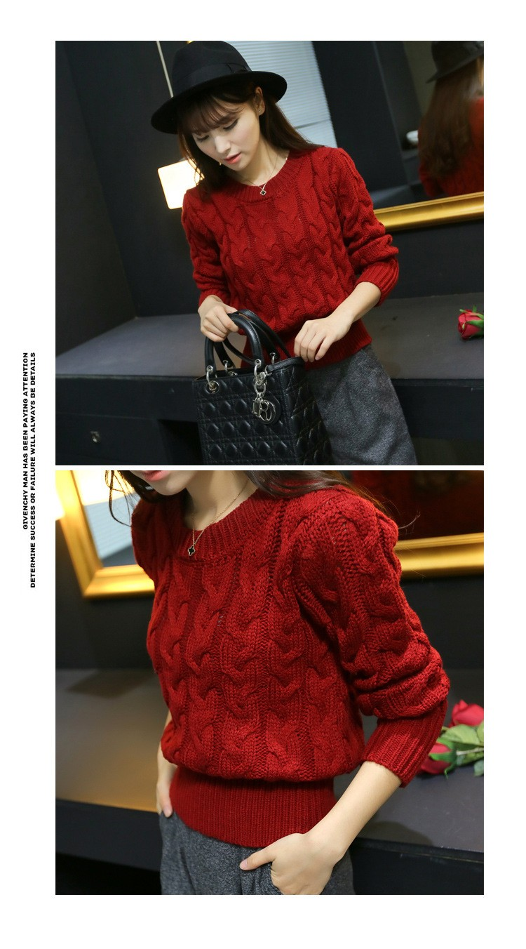 Retro Style Thick Line O-Neck Pullover Short Sweater Women Girl Spring 2016 (8)