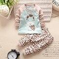 2016 Outono e inverno novo bebê da menina do bebê roupas de bebê menino roupas para os recém-nascidos do bebê bonito dos desenhos animados impresso algodão roupas