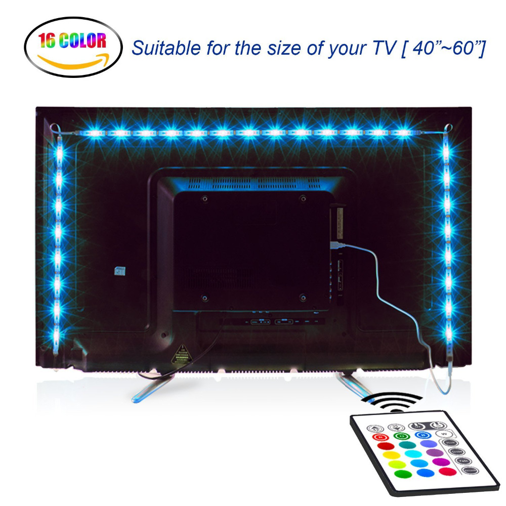 LED TV Backlight 2M/6.56ft RGB Neon Accent LED Lights Strips For 40 To 60 IN HDTV Neon Light Bias Lighting With Remote