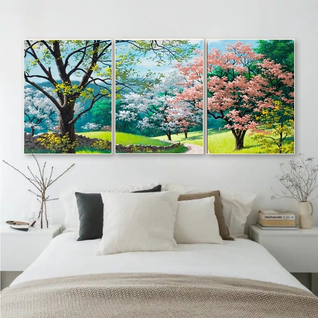 Laeacco Canvas Painting Calligraphy 3 Panel Spring Outside Posters Prints Flower Trees Wall Art Nordic Home Living Room Decor