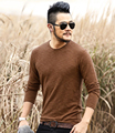 MIX man winter bamboo cotton texture designer Long-sleeve t shirts slim fit fashion cotton casual o neck Fitness T-shirt Men