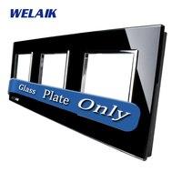 WELAIK חלקי DIY מגע מתג מתג אור פנל זכוכית רק של קיר שחור זכוכית קריסטל לוח A3888B1 חור מרובע