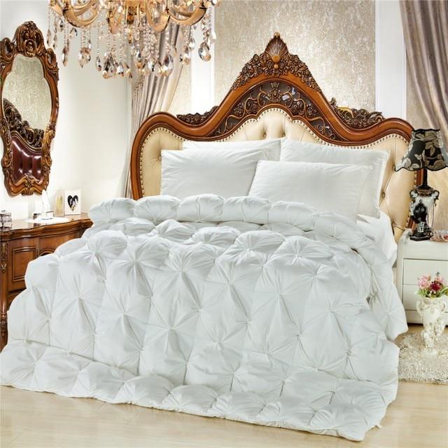 Dreamworld Goose Down Comforter White Pink Satin Duvets Duck Winter Blanket Cotton Queen King Size