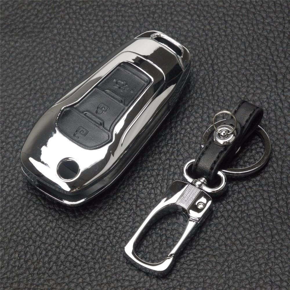 jingyuqin Novo daljinsko 3 gumbe cinkova zlitina + usnjena prevleka - Dodatki za notranjost avtomobila - Fotografija 3