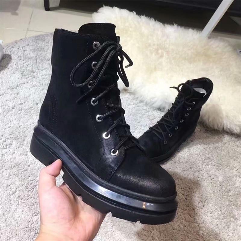 389776242584 Bottom Cuir Bout black Horsehair Courtes Pour En D hiver Véritable Plat  black Thick Black Classique Qualité Rond Haute Leather Noir Bottes Lacent  Femmes ...