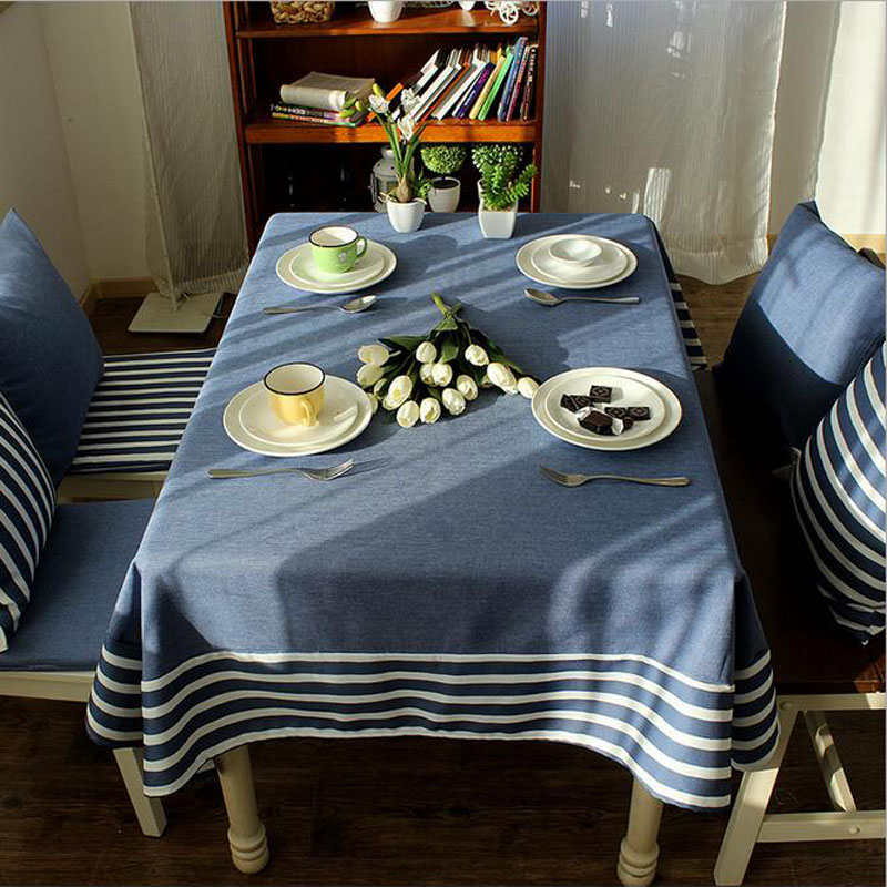 Oversize 140 220 Retro Navy Wind Table Cloth Cotton Linen Striped Picnic Party Tablecloth Dustproof