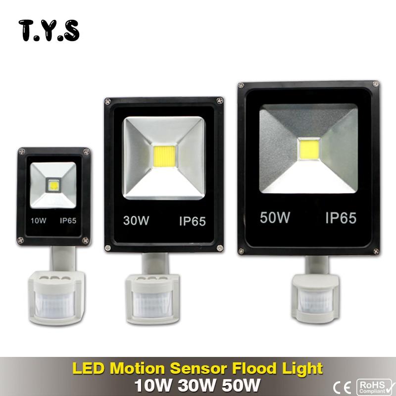 Pir Motion Sensor LED Lumière Crue 10 W 30 W 50 W Projecteur LED Spotlight Éclairage Extérieur Projecteur Mur Lampe AC220V Jardin Carré
