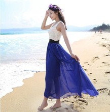 20 Colors new fashion women summer clothing bohemian Elastic Waist Chiffon Long Maxi Skirt Girl's Pleated Ruched skirt  W00233 ruched high waist maxi trumpet skirt