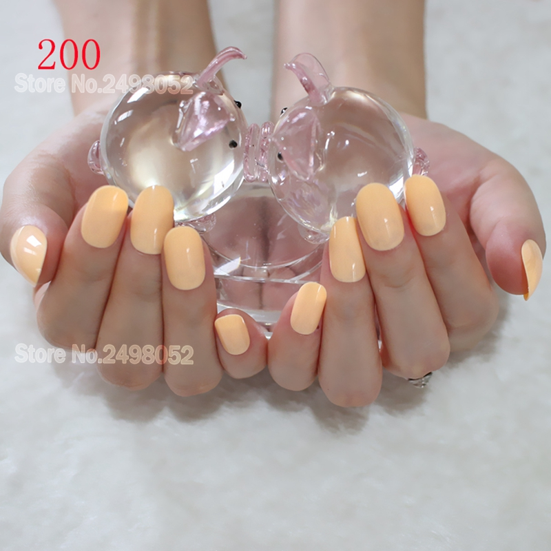 Soft Full Cover Nails Acrylic False Nail Tips Milk Yellow Artificial ...
