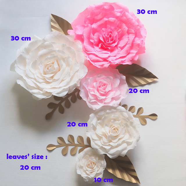 Us 94 05 5 Off Giant Paper Flowers Backdrop Artificial Handmade Crepe Paper Rose 5pcs Gold Leaves 6pcs For Wedding Party Deco Home Decoration In