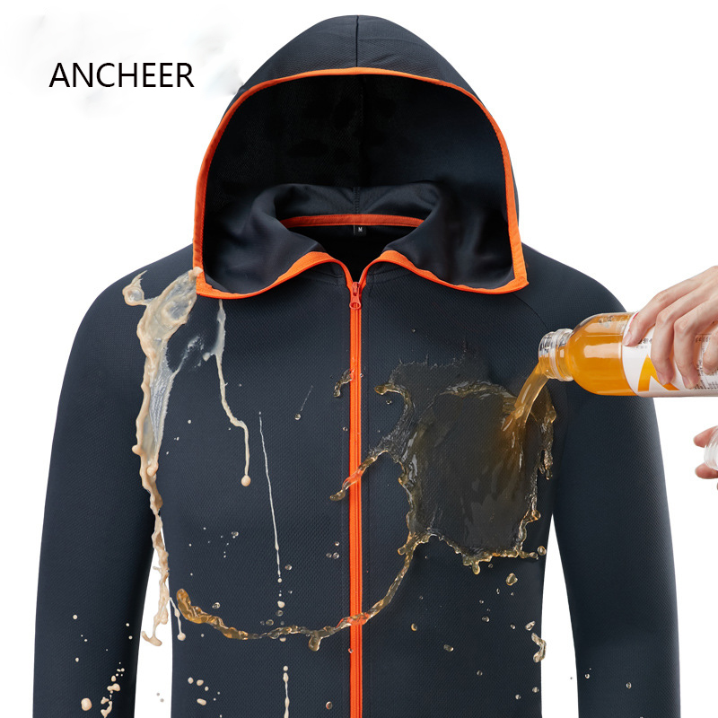 Hydrophobic Ice Silk Man Fishing Clothing Outdoor Camping Hiking Hooded Jackets Waterproof Anti-Fouling Quick-Drying-Protect