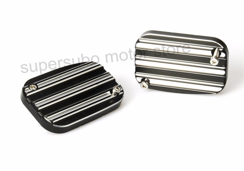 Мотоцикл черный и Литой серебряный ЧПУ Алюминиевый слева и справа спереди главный цилиндр крышки подходит для Harley