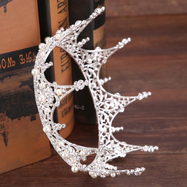 Hot European Designs King Queen Round Crown Rhinestone Tiara Head