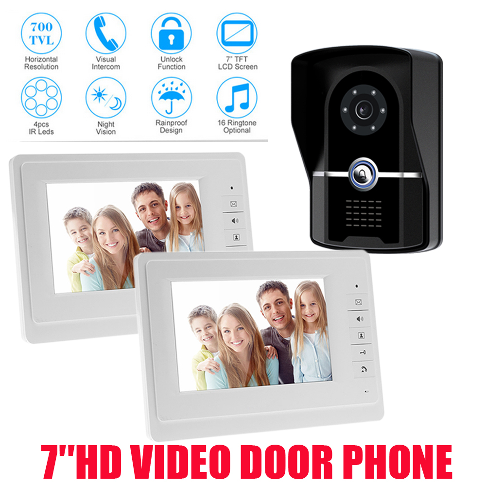 HD New Wired 7 Color Screen Video Door Phone Intercom System + 1 Waterproof Door Camera + 2 White Monitor brand new wired 7 inch color video intercom door phone set system 2 monitor 1 waterproof outdoor camera in stock free shipping