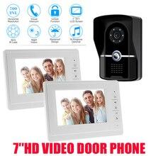HD New Wired 7″ Color Screen Video Door Phone Intercom System + 1 Waterproof Door Camera + 2 White Monitor