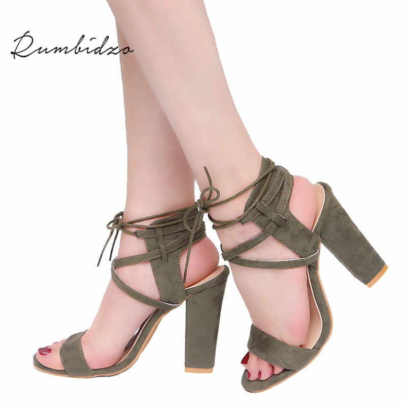 Rumbidzo Women Sandals 2018 Hot Sale Woman High Heels Shoes Open Toe Cross-tied Sandalias Lace Up Square Heels Sapatos цена 2017