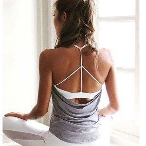 Image 2 - Fack top com enchimento interno feminino, duas peças, regata esportiva, camiseta fitness para corrida, roupa de academia