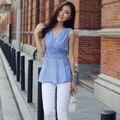 Verão mulheres tops, Elegante xadrez fino sem mangas colete tanques das senhoras Tops casuais S65003