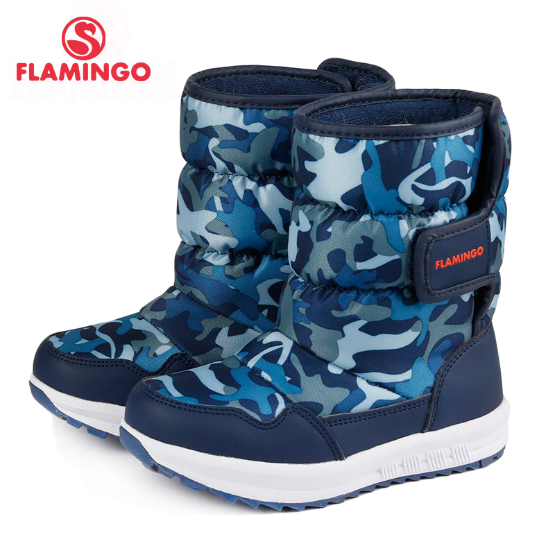 FLAMINGO 2017 new collection winter fashion snow boots with wool high quality anti-slip kids shoes for boy 72D-NQ-0443 cosway nq