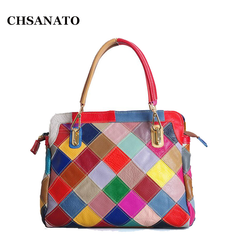CHSANATO Brand New Colorful Patchwork Leather Tote Bag Women Designer Handbags Shoulder Bags Fashion Lady Purses