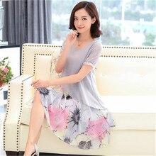Summer Chiffon Dress 2018 Casual Short Sleeve O-Neck Floral Print Dresses Elegant Party Dress Plus Size 5XL Women Clothing