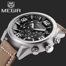 MEGIR Chronographe Casual Montres Hommes Marque De Luxe Militaire Sport Quartz Montre En Cuir Véritable Hommes de Montre-Bracelet relogio masculino