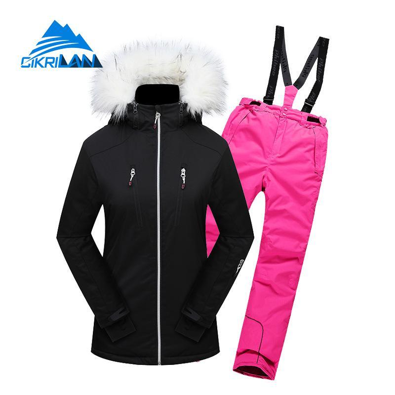 Winter Waterproof Windstopper Outdoor Ski Suit Women Sport Snowboard Skiing Set Fur Collar Cotton Padded Thick Jacket Snow Pants