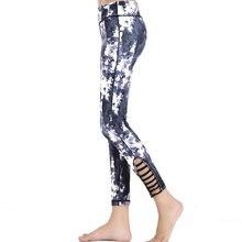 Women Qucik-Dry Hollowed-out Yoga leggings Pants Gym Fitness High Waist Black White Printed Pants Sports Clothing