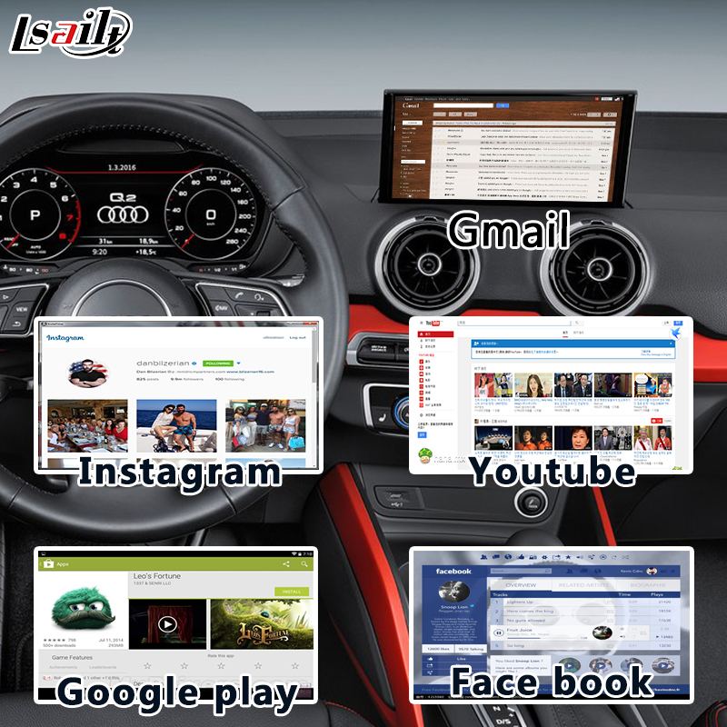 Android 6.0 GPS Navigation Interface for 2005-2009 AUDI 2G MMI A6/A8/Q7/S6 with WIFI Applications Download Mirrorlink OnlineMap image