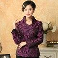 Стильный Фиолетовый Леди Атласная Полиэстер Тан Костюм Китайский Традиционный Куртка Формальное элегантные Цветы Пальто Размер Sml XL XXL XXXL T033