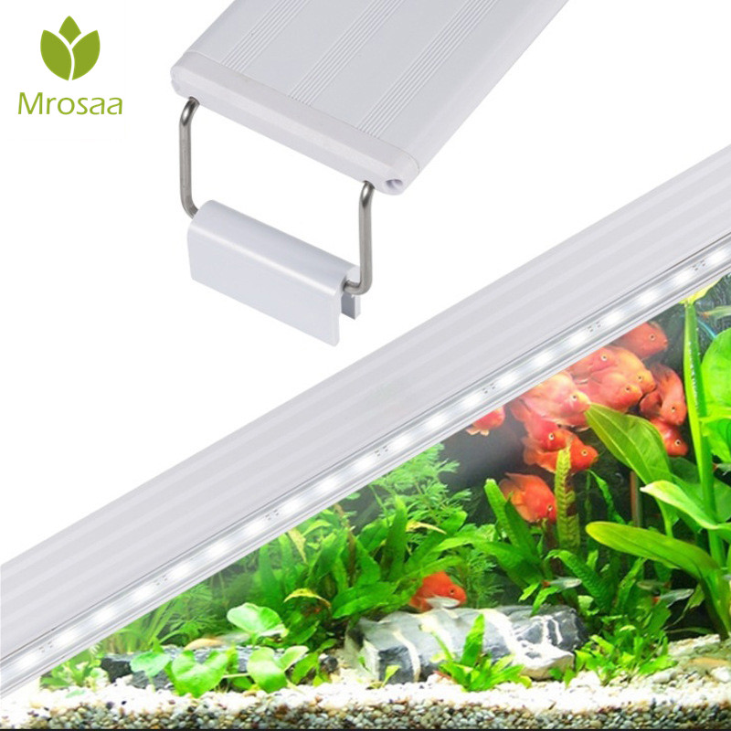 Mrosaa 220-240V Adjustable Aquarium LED Light Fish Tank White Lighting Holder Lamp water plants grow PVC aquarium lights